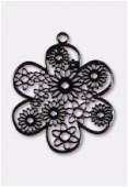 Estampe fleur 27 mm noir x1