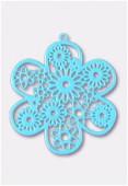Estampe fleur 50 mm turquoise x1