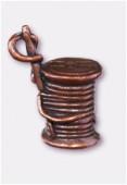 Breloque en métal bobine de fil 10x10 mm cuivre x1