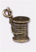 Breloque en métal bobine de fil 10x10 mm bronze x1