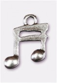 Breloque en métal double croche 15x12 mm argent vieilli x2
