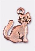 Breloque en métal chat 15x12 mm cuivre x2