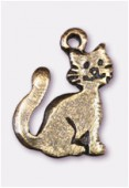 Breloque en métal chat 15x12 mm bronze x2