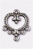 Chandelier coeur baroque 5 anneaux 22x20 mm argent vieilli x2