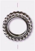 Perle en métal anneau 13 mm argent vieilli x1