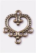 Chandelier coeur baroque 5 anneaux 22x20 mm bronze x2