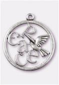 Pendentif en métal colombe peace 39 mm argent vieilli x1