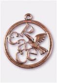 Pendentif en métal colombe peace 39 mm cuivre x1