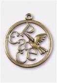 Pendentif en métal colombe peace 39 mm bronze x1