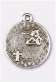 Breloque en métal médaille ange 20 mm argent vieilli x1