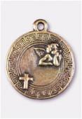 Breloque en métal médaille ange 20 mm bronze x1