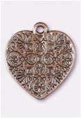 Breloque en métal coeur 23x20 mm cuivre x1