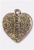 Breloque en métal coeur 23x20 mm bronze x1