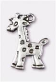 Breloque en métal girafe 17x10 mm argent vieilli x2