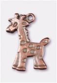 Breloque en métal girafe 17x10 mm cuivre x2