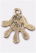 Breloque en métal fait main 22x20 mm bronze x1