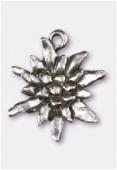 Breloque en métal edelweiss 18x16 mm argent vieilli x2