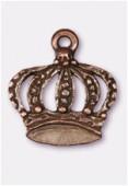 Breloque en métal couronne 19x17 mm cuivre x2