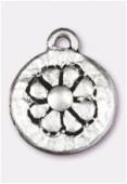 Breloque en métal médaille marguerite 14 mm argent vieilli x2