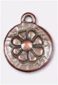 Breloque en métal médaille marguerite 14 mm cuivre x2