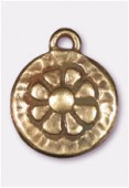 Breloque en métal médaille marguerite 14 mm bronze x2