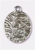 Breloque en métal bouquet de fleurs 24x17 mm argent vieilli x1