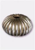 Perle en laiton ronde 12x10 mm argent vieilli x2