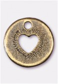 Breloque en métal coeur découpé 14 mm bronze x2