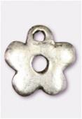 Breloque en métal petite fleur 10 mm argent vieilli x2