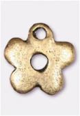 Breloque en métal petite fleur 10 mm bronze x2