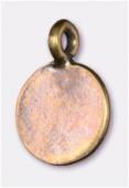 Breloque en métal sequin plat 12 mm bronze x2