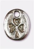 Breloque en métal coeur fleur 10x8 mm argent vieilli x4