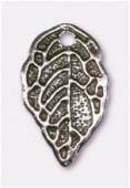 Breloque en métal feuille 16x9 mm argent vieilli x2
