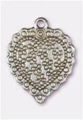 Breloque en métal coeur petites fleurs 27x22 mm argent vieilli x1