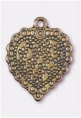 Breloque en métal coeur petites fleurs 27x22 mm bronze x1