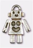Breloque en métal robot 25x18 mm argent vieilli x1