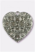 Pendentif en métal coeur baroque 37x36 mm argent  x1