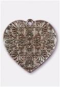 Pendentif en métal coeur baroque 37x36 mm cuivre x1