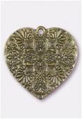 Pendentif en métal coeur baroque 37x36 mm bronze x1