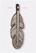 Breloque en métal plume 10x30 mm bronze x2