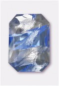 Cabochon rectangle 25x18 mm light sapphire silver foiled x1