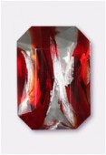 Cabochon rectangle 25x18 mm red silver foiled x1