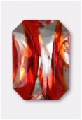 Cabochon rectangle 25x18 mm fire opal silver foiled x1