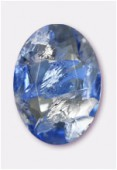 Cabochon ovale 25x18 mm light sapphire silver foiled x1