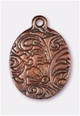 Breloque en métal bouquet de fleurs 24x17 mm cuivre x1