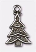 Breloque en métal arbre de Noël 23x14 mm argent vieilli x1