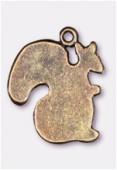 Breloque en métal écureuil 18x15 mm bronze x2