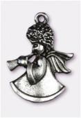 Breloque en métal ange de Noël 25x18 mm argent vieilli x1