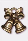 Breloque en métal cloche de Noël 15x14 mm bronze x1