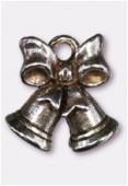 Breloque en métal cloche de Noël 15x14 mm argent vieilli x1